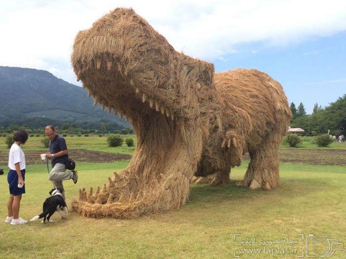 حمله مجسمه های غول آسا به مزرعه برنج