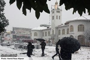 نخستین برف زمستانی در رشت+تصاویر
