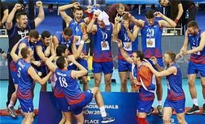 گزارش تصویری؛ جشن قهرمانی صربستان در لیگ جهانی ۲۰۱۶