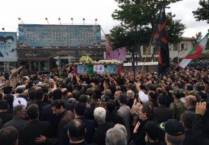 بدرقه پیکر شهید حسن عشوری در گلزار شهدا رشت