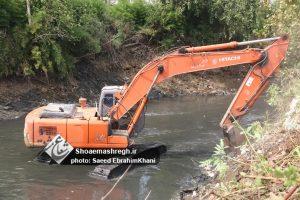 گزارش تصویری از ادامه عملیات لایروبی رودخانه گوهر رود رشت
