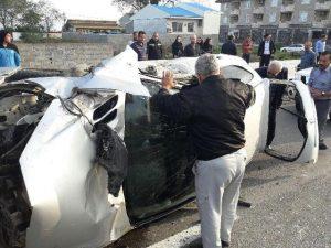 یک مصدوم در حادثه واژگونی خودروی سواری در انزلی