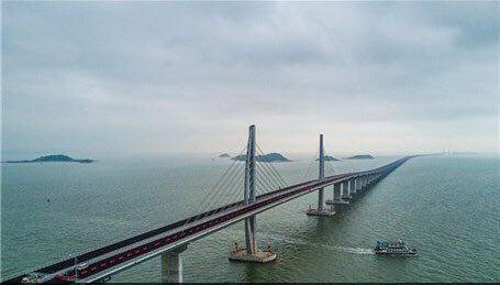 بهرهبرداری از طولانیترین پل دریایی جهان
