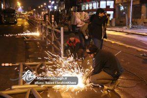 گزارش تصویری برش نرده های خط ویژه اتوبوس خیابان امام رشت/ آزاد سازی شبانه رشت با حضور شهردار