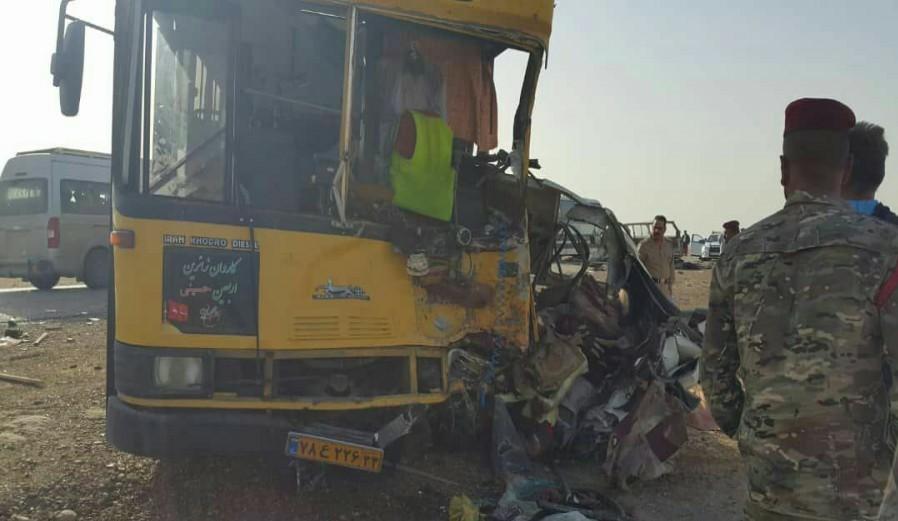 تصادف ون با اتوبوس/ ۱۱ زائر ایرانی کشته شدند