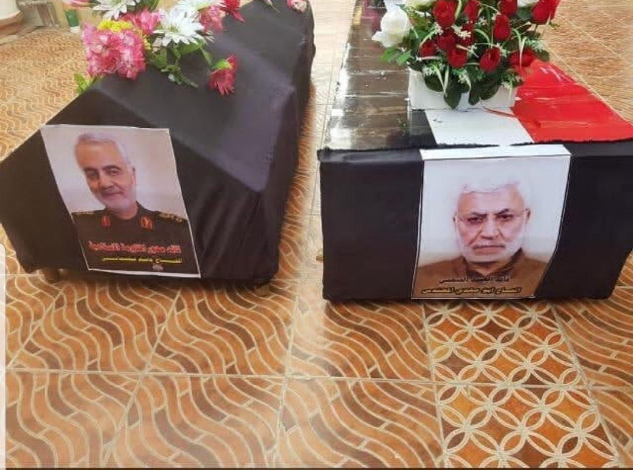 پیکرهای پاک شهید سردار سلیمانی و المهندس به ایران منتقل شد