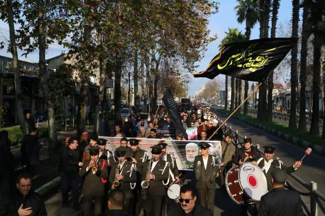 حرکت هیات سوگواری شورا و شهرداری رشت به مناسبت شهادت سردار سپهبد حاج قاسم سلیمانی
